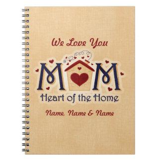Corazón de la MAMÁ del cuaderno personalizado hoga