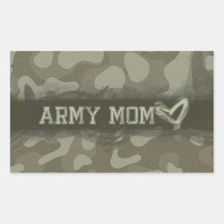 Corazón de la mamá del ejército del camuflaje del pegatina rectangular