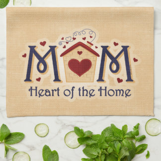 Corazón de la MAMÁ del hogar Toalla De Cocina