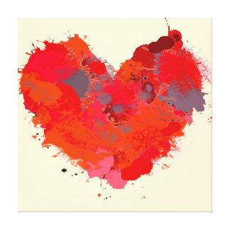 Corazón de la mancha de la tinta lienzo envuelto para galerias