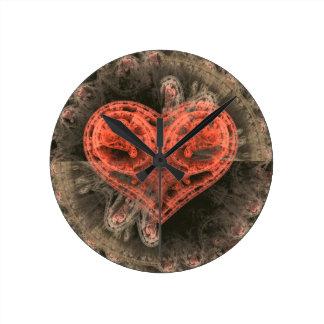 Corazón de la máquina reloj redondo mediano