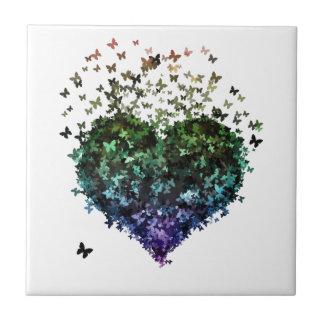 Corazón de la mariposa azulejos ceramicos