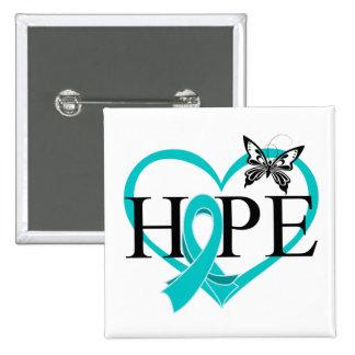 Corazón de la mariposa de la esperanza del cáncer pins
