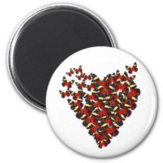 Corazón de la mariposa imán redondo 5 cm