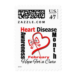 Corazón de la mariposa - mes de la conciencia de timbre postal