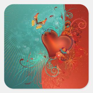 Corazón de la mariposa calcomania cuadrada personalizada