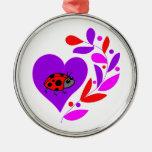 Corazón de la mariquita adorno para reyes