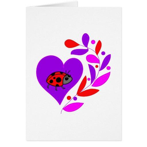 Corazón de la mariquita felicitación
