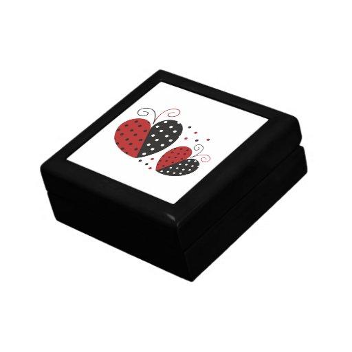 Corazón de la mariquita lindo caja de regalo
