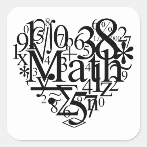 Corazón de la matemáticas pegatina cuadrada