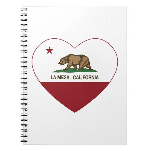 corazón de La Mesa de la bandera de California Libros De Apuntes Con Espiral