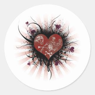 Corazón de la muerte etiquetas redondas