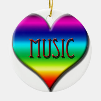 Corazón de la música del arco iris para los regalo ornaments para arbol de navidad