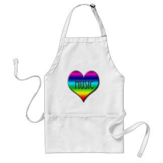 Corazón de la música del arco iris para los regalo delantales