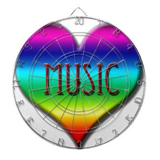 Corazón de la música del arco iris para los regalo tabla dardos