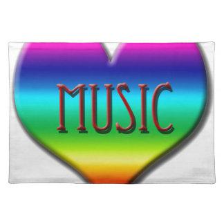 Corazón de la música del arco iris para los regalo mantel individual