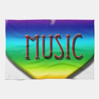 Corazón de la música del arco iris para los regalo toallas de mano