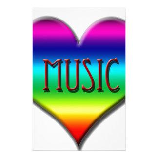 Corazón de la música del arco iris para los regalo papelería personalizada