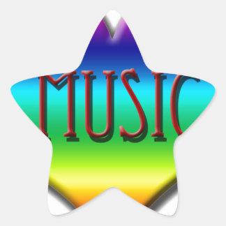 Corazón de la música del arco iris para los regalo calcomanía forma de estrellae