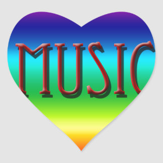 Corazón de la música del arco iris para los regalo calcomanías corazones personalizadas