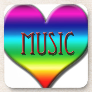 Corazón de la música del arco iris para los regalo posavasos