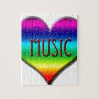 Corazón de la música del arco iris para los regalo puzzle con fotos