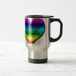 Corazón de la música del arco iris para los regalo tazas de café