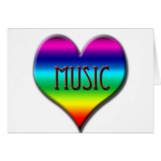 Corazón de la música del arco iris para los tarjeta de felicitación