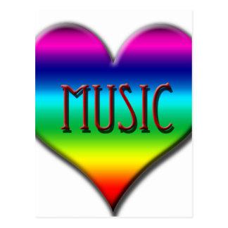 Corazón de la música del arco iris para los postal