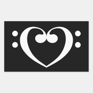 Corazón de la música pegatina rectangular