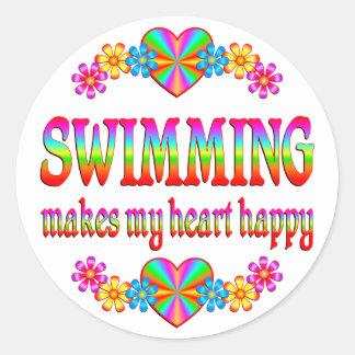 Corazón de la natación feliz pegatinas