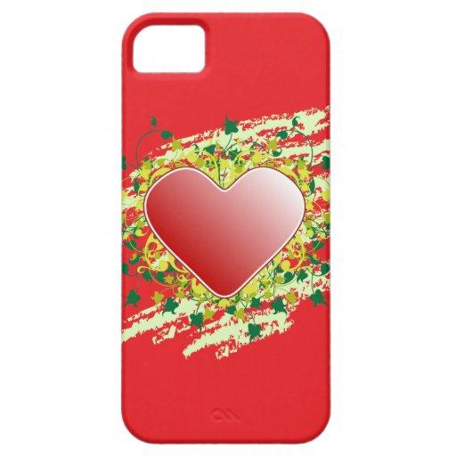 Corazón de la naturaleza en rojo iPhone 5 cárcasas