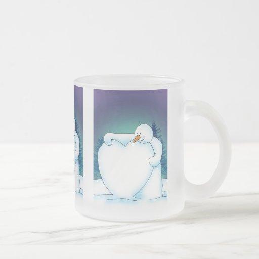 Corazón de la nieve taza de café esmerilada