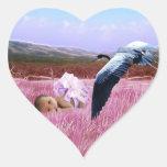 Corazón de la niña pegatina en forma de corazón
