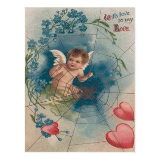 Corazón de la nomeolvides de la telaraña del Cupid Tarjetas Postales