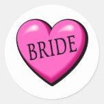 Corazón de la novia etiqueta redonda