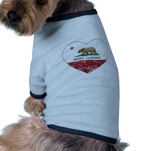 corazón de la nuez de la bandera de California ape Camisas De Mascota