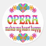 Corazón de la ópera feliz etiquetas redondas