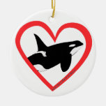 Corazón de la orca adorno redondo de cerámica