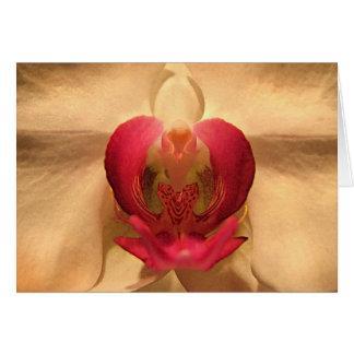 Corazón de la orquídea tarjeta de felicitación