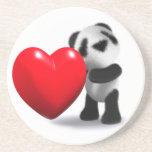 corazón de la panda del bebé 3d posavasos para bebidas