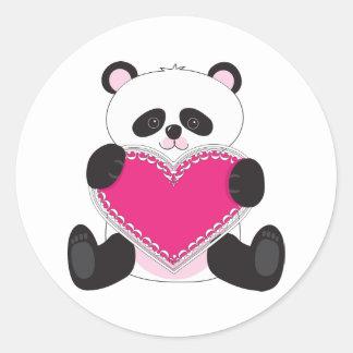 Corazón de la panda pegatina redonda