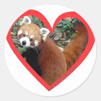 Corazón de la panda roja pegatinas redondas