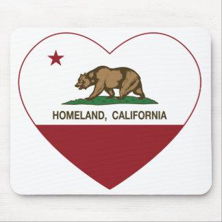 corazón de la patria de la bandera de California Alfombrilla De Ratón