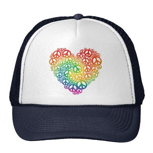 Corazón de la paz del arco iris gorro de camionero