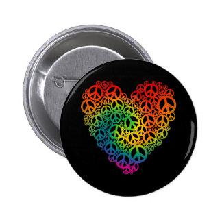 Corazón de la paz del arco iris pin redondo 5 cm