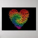 Corazón de la paz del arco iris poster