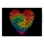 Corazón de la paz del arco iris tarjetón