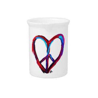 corazón de la paz jarra para bebida