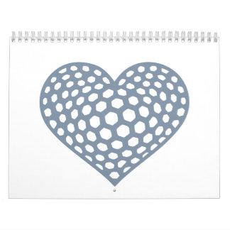 Corazón de la pelota de golf calendarios de pared